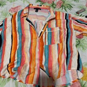 I am selling a pretty multi-colored collard shirt.